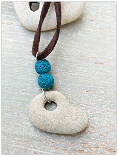 Myera Jewelry Holed Hag Stone Pendant Womens Witch Amulet Necklace With Turquoise Lava Beads From Amazon Shefinds A hag stone is a wonderful natural formation that can be used for many different purposes. shefinds