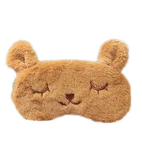 Aeromdale Kaninchen-Schlafabdeckung, tragbar, weich, Augenschutz, für einen guten Schlaf, 1 Stück, Gelb braun