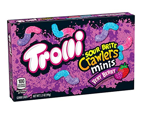 Trolli Sour Brite Crawlers Gummy Candy, Very Berry Flavor, 3.5 Ounce Theatre Box, Pack of 12, Multi