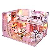Chenang Pink DIY Puppenhaus ,Traumengel Doll Cottage ,Puppenvilla mit 2 Etagen Miniatur Haus mit LED...