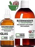 ROSENWASSER 500 + 100-ml SPRAY GLAS, AYURVEDA, Körper- und Gesichts-wasser, 100% naturrein, 1:1 Konzentration, Rosa damascena Blüttenwasser, ohne Zusatzstoffe, nachhaltig, essbar