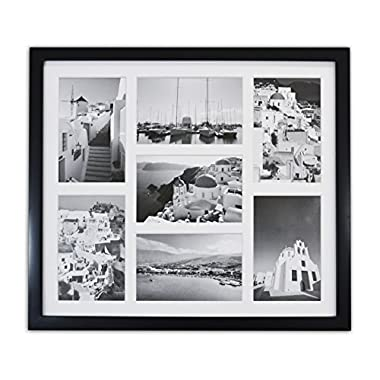 Golden State Art, 13.7x15.7 Matted Black Wood 7-Opening for 4 x 6 Collage Picture Frame