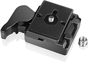 UTEBIT 323 RC2 Quick Release Plate Compatible for Manfrotto 200PL-14 QR Plates Adapter with Rapid Connect Clamp and 1/4'' to 3/8'' Screw for DSLR Camera Tripod Ball Head