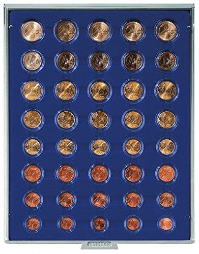 Münzenbox mit 40 Vertiefungen für 5 Euro-Kursmünzensätze (Lindner 2556M), z.B. für 5 verkapselte Euro-Kursmünzen-Sätze - Ausführung: Marine