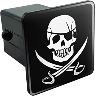 Graphics and More Pirate Skull Crossed Swords Jolly Roger Tow Trailer Hitch Cover Plug Insert 2