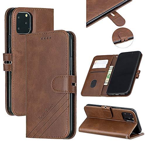 Funda para iPhone 12 Pro, Apple iPhone 12 Max 6.1 pulgadas Flip Case Case Bumper Cover con ranuras para tarjetas, [Antiresistente] Correa de muñeca TPU Cartera Funda protectora (marrón)