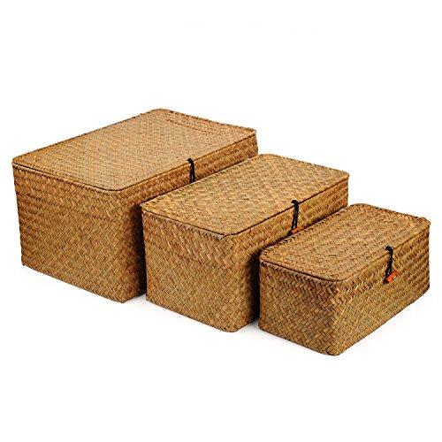 DOKOT Seagrass Cestas Mimbre Decoración Cesto de Almacenaje con Tapa Rectangular Tejido de Ratán Caja con Tapa 3 Piezas (Grande + Mediano + Pequeño)