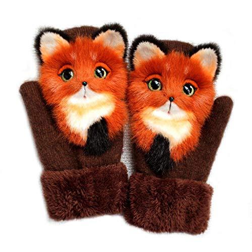 XIAOSHA Strickhandschuhe für Frauen und Männer im Winter, süße Flauschige 3D-Tierdekoration, Dickes Plüschfutter, Winddichte und warme Außenhandschuhe