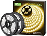 Lighting EVER 32.8ft LED Strip Light, Warm White 2700K, Plug and Play, Bright 1800lm LED Tape Light for Kitchen, Living Room, Stairs and More, 12V Power Supply and Dimmer Switch Included
