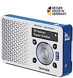 TechniSat Digitradio 1 BR Heimat-Edition portables DAB Radio (klein, tragbar, mit Lautsprecher, DAB+, UKW, Favoritenspeicher, Direktwahltaste zu BR Heimat) weiß/blau