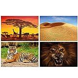 GREAT ART® 4er Set XXL Poster Kinder Motive – Afrika –