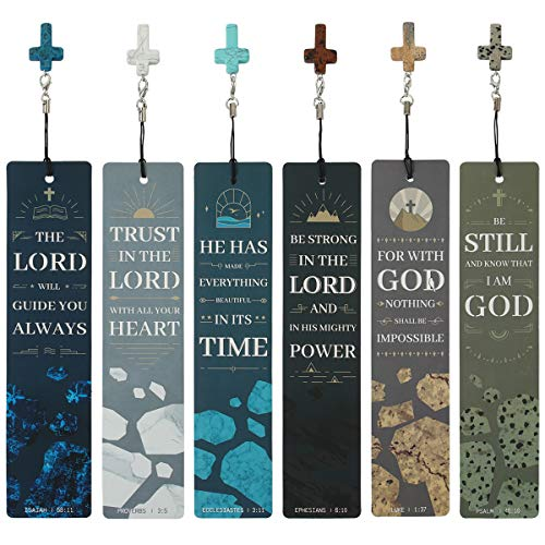 12 Pcs Bible Verses Bookmarks with Cross Pendants, Bookmark for Bible, Great Religious Christian Gifts for Men, Women, Kids, Perfect for Reading Rewards, Church Supplies, Giveaways for Sunday School.