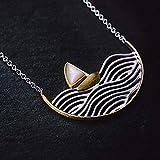 xxz Collares Colgantes Collar de velero de Oro Creativo de Plata de Ley 925 Hecho a Mano de diseñador de joyería Fina para Mujer
