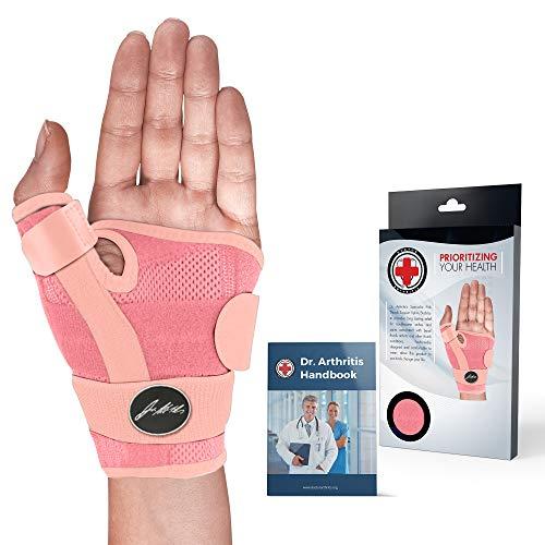 Dr. Arthritis - Premium Daumenschiene inkl. Handbuch vom Arzt - Daumenbandage Für Rechts- & Linkshänder - Daumenorthese/Handbandage Ideal Als Unterstützung bei Schmerzen Im Daumengelenk - Rosa