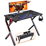 Mr IRONSTONE Gaming Desk 45.2' W x 23.6' D Home Office Desk, Gaming Workstation with Power Strip of 3-Outlet & 2 USB Ports, Cup Holder, Headphone Hook, and Cable Management (Red)