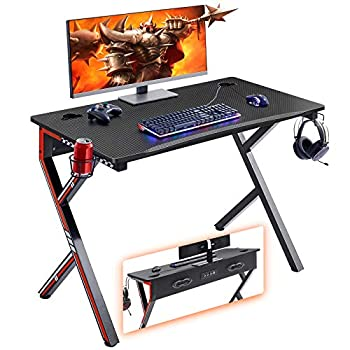 Mr IRONSTONE Gaming Desk 45.2  W x 23.6  D Home Office Desk Gaming Workstation with Power Strip of 3-Outlet & 2 USB Ports Cup Holder Headphone Hook and Cable Management  Red