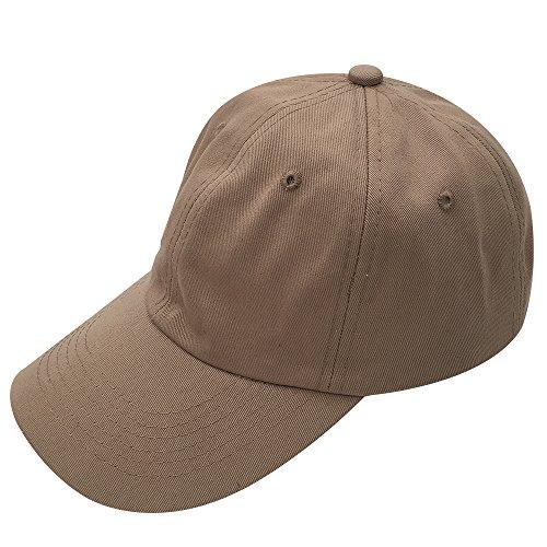 Gorra de béisbol ajustable, con hebilla de metal, 100% algodón, estilo polo y perfil bajo Beige Color beige oscuro. Talla única