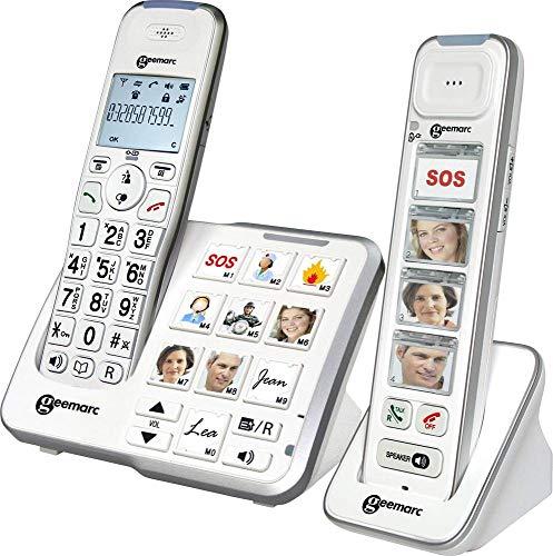 Geemarc Mobility Pack Foto Schnurloses Telefon analog Anrufbeantworter, Foto-Tasten, Freisprechen, für Hörgeräte kompat