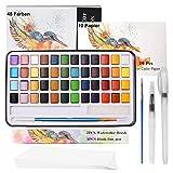 ZITFRI Aquarellfarben, 48 Wasserfarben Set - Aquarellfarben Kasten mit 10 Aquarellpapier, 3 Aquarellpinsel, 2 Schwamm - Aquarellfarbkasten Set Tragbar Malkasten für Anfänger und Profis