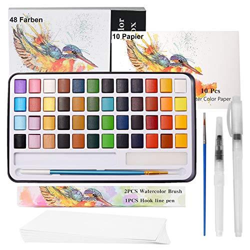 Set Acuarelas Profesionales 48 Colores de Pinturas de Acuarela 12 Acuarelas Metalizadas, 10 Papel de acuarelas+4 Pinceles de Acuarela+Carta de Colores Acuarela Portatiles Solida para Niños y Adultos