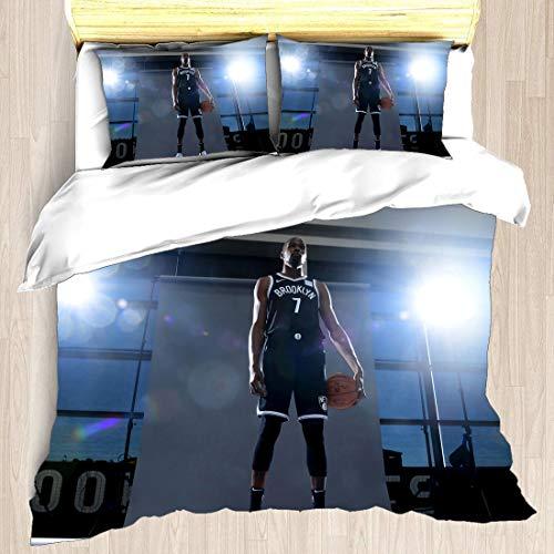 Juego de funda nórdica Kevin Brooklyn Jugador de baloncesto 7 ropa de cama KD Durantula Durant Nets Super Star Dribble Out The Time Shot Reloj Edredón con 2 fundas de almohada Oklahoma City Slim Reape
