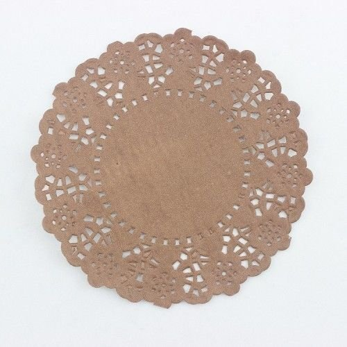 """100 PCss 4.5"""" Inch Flower Paper Lace Doilies Craft Doilies Wedding Cards, Doilies Paper Punch (Brown)"""