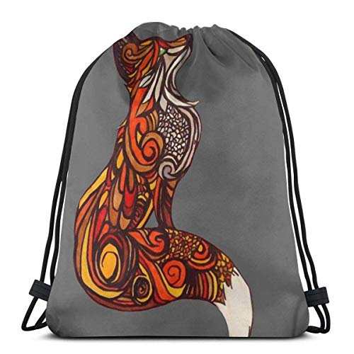 LREFON Fox Art Sport Bag Gym Sack Mochila con cordón