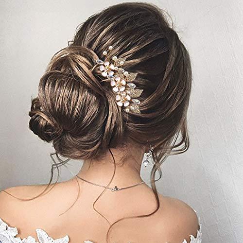 Unicra Mariage Fleur Épingles À Cheveux Perle De Mariée Coiffures Pièce De Cheveux De Mariage Accessoires Pour Mariée (Un paquet de 3)