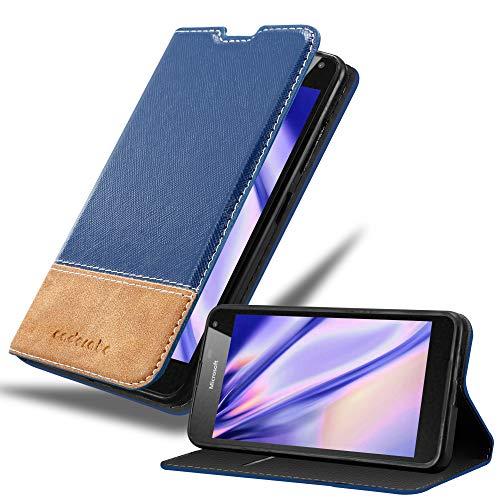 Cadorabo Hülle für Nokia Lumia 650 - Hülle in DUNKEL BLAU BRAUN – Handyhülle mit Standfunktion & Kartenfach aus Einer Kunstlederkombi - Hülle Cover Schutzhülle Etui Tasche Book