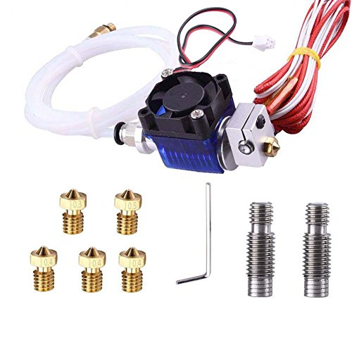 Kee Pang All-Metal V6 J-Head Hotend Extruder Hotend kit with 2 pcs Stainless Steel Nozzle Throat + 5 Pcs Brass Printer Nozzles for E3D V6 Makerbot RepRap 3D Printers