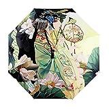 BXT - Paraguas plegable para mujer, 3 secciones, diseño artístico, robusto, antiviento, protección UV SPF +40, Retro-Lady (Varios colores) - BXT-UMBREL-098