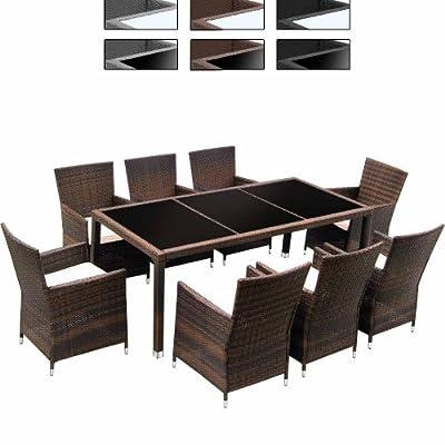 hochwertige 17 teilige polyrattan sitzgarnitur gartenm bel farbwahl rattangeflecht. Black Bedroom Furniture Sets. Home Design Ideas