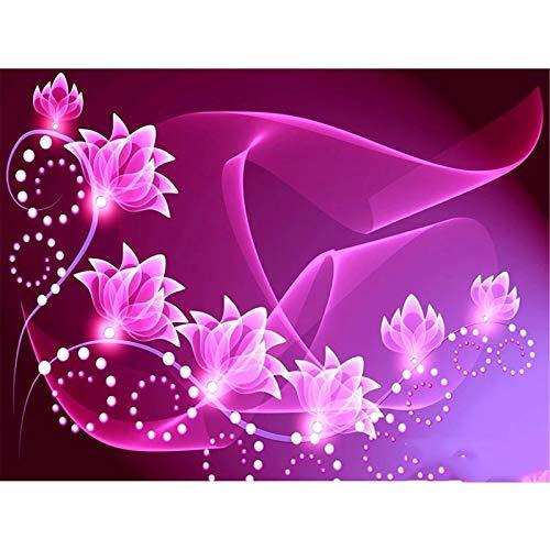 DIY 5D Pintura de Diamante taladro completo kit Hermosa flor Diamond Painting kit adultos punto de cruz rhinestone bordado diamante arte Para Decoración de la Pared del Hogar Square Drill,30x40cm