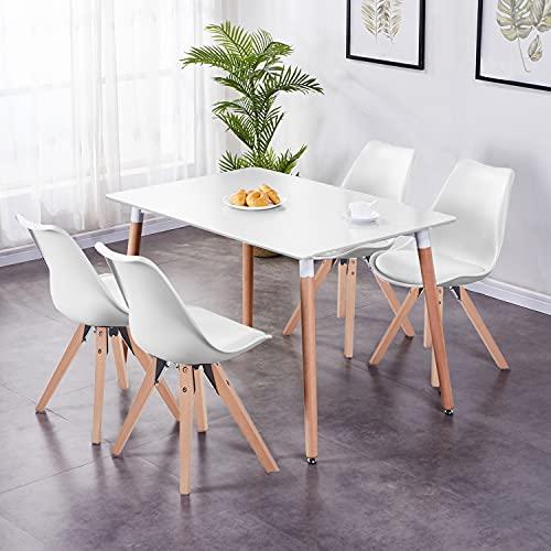 GOLDFAN Esstisch mit 4 Stühlen Rechteckiger Esstisch aus Holz Moderner Küchentisch Esszimmerstuhl aus Holz Stuhl mit Kissen Weiß