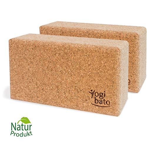 Yogibato Yogablock Kork stabil & rutschfest | Yoga Block 2er Set | Natur Korkblock für Yoga und Fitness – Pilates & Hatha Klotz – Cork Brick – Yogaklotz aus 100% Naturkork