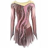 XRDSHY Vestido de Patinaje artístico Maillot de Entrenamiento de Patinaje para Mujer Falda de Baile de competición Profesional,Khaki-L