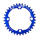 FIFTY-FIFTY 104BCD Narrow Wide Chainring, Single Chainring for 9/10/11-Speed with 4 Alloy Chainring Bolts,34T,Blue