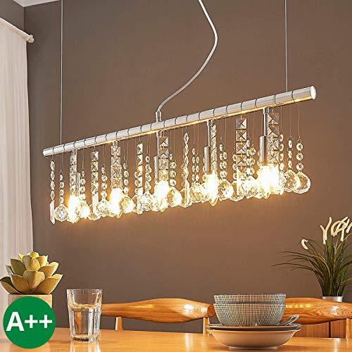 Lampenwelt Pendelleuchte 'Matei' dimmbar (Kristall) in Transparent aus Kristall u.a. für Wohnzimmer & Esszimmer (5 flammig, E14, A++) - Deckenlampe, Esstischlampe, Hängelampe, Hängeleuchte,