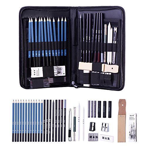H & B Sketching Pencils Set, 40-Piece Drawing Pencils and Sketch Kit, Complete Artist Kit Includes...