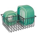 mDesign Metal Kitchen Food Storage Container Lid Holder, 3-Compartment Organizer Bin for...