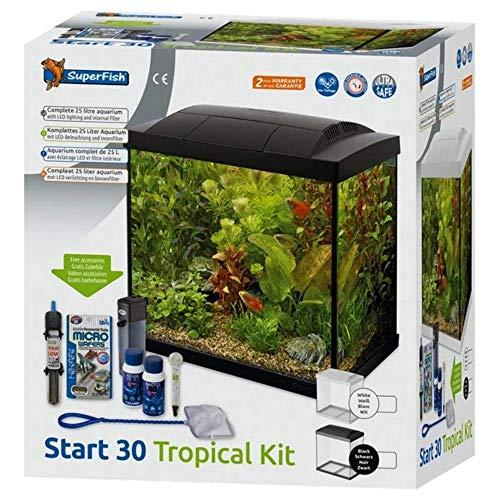 SuperFish SF Tropical Set 30 Aquarium schwarz inkl. Filter, Heizer, Wasseraufbereiter, Kescher, Thermometer und Futter