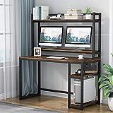 Tribesigns Escritorio para ordenador con estantes de almacenamiento, estación de trabajo, escritorio de estudio con cabaña y estantería, soporte elevador para monitor