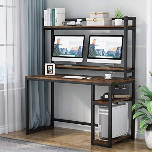 Tribesigns, scrivania con mensole, ripiani a scomparsa e alzata di supporto per monitor