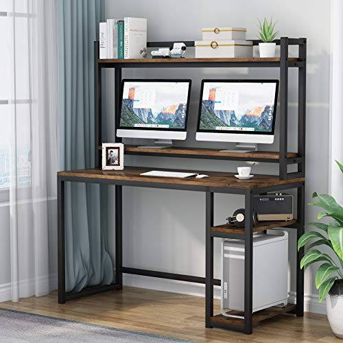 Computer Desk with Storage Shelves, Workstation, Study Desk with Hutch and Bookshelf, Monitor Riser Stand (Rustic Brown)