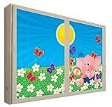 CCRETROILUMINADOS Elefante Rosa Ventanas Falsas Cuadros Decorativos Iluminada, Metacrilato, Blanco, 80 x 80