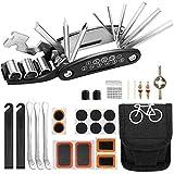 AIOIA Kit de Herramientas para Bicicleta, 16 en 1 Herramienta multifunción para Bicicleta con Kit de Parche y palancas para neumáticos, Kit de Herramientas para reparación de Bicicletas