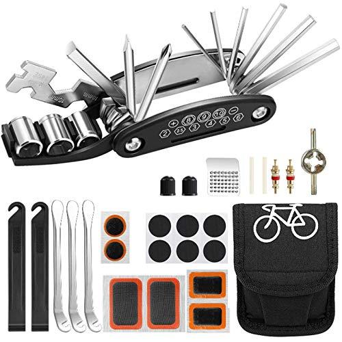 AIOIA Fahrrad Multitool,16-in-1 Fahrradwerkzeug Flickzeug mit Tasche Multitool Praktisches Fahrrad Werkzeug und Reparatur Set Aufbewahrungstasche Fahrradflickzeug Reparaturset Reifenflickzeug
