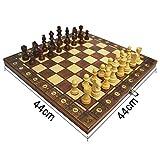 Sfit 3 in 1 Scacchi Backgammon Dame Scacchiera in legno pieghevole Chess Board di alta qualità con grandi scacchi, giocattolo educativo per bambini e adulti (44 x 44 cm)