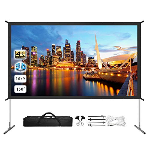 Projector Screen with Stand 150 inch, Upgraded Front or Rear Projection 150in 4K 16:9 HD, Portable Projector Screen for Outdoor/Indoor Home Theater Backyard Movie Gaming Office School Presentation