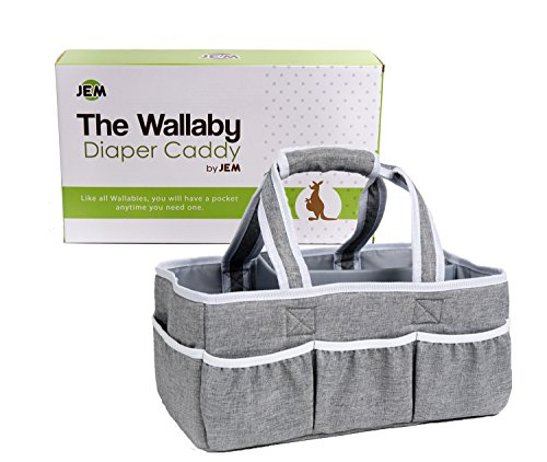 Wallaby Diaper Caddy Storage Bin - Organizer for Diapers, Wipes, Baby Bottles and More. Great for Home, Car, Travel or a Baby Shower Gift.